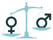 Scale with male and female icons showing imbalance. Old-fashioned pan scale with male and female icons showing an inequality between the sexes with the male royalty free illustration