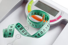 Scale and measuring tape Royalty Free Stock Photos