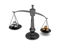 Scale with metal balls. 3d illustration of scale with golden and silver balls Stock Images