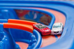 Scale model cars accident on the road. Traffic. Stupidity. Royalty Free Stock Photo
