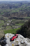 Scale model of classic car and breathtaking panorama Royalty Free Stock Photography