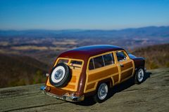 A Scale Model of a 1949 Ford Woody Station Wagon Overlooking the Shenandoah Valley. Bedford, VA – December 26th: An image of a scale model of a 1949 Ford royalty free stock photos
