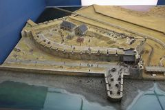 Scale model of the historic fortress of Louisbourg after the capture of the fort by the British in 1758 Royalty Free Stock Photo
