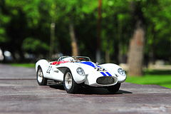 Scale model replica of the Ferrari Testa Rossa Pontoon Fender racing car. Vintage race car from 1958 from the italian producer Ferrari royalty free stock photography