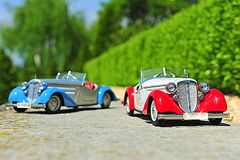 Scale model replicas of the Audi 225 Front Roadster german car Stock Photography