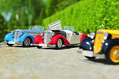 Scale model replicas of the Audi 225 Front Roadster german car Stock Images