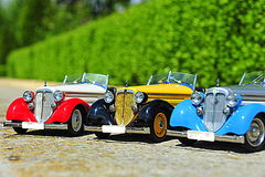 Scale model replicas of the Audi 225 Front Roadster german car Royalty Free Stock Photos