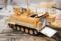 Scale model tank. At the building moment royalty free stock image
