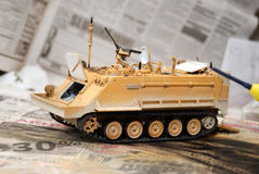 Scale model tank. At the building moment stock photography