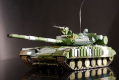 Scale model tank. On black background stock image