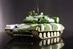 Scale model tank. On black background royalty free stock photo