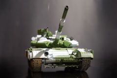 Scale model tank. On black background stock photo