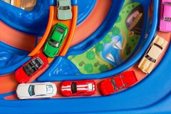 Scale model toy cars accident on the road. Traffic jam. Stupidity. Top view. Stock Photo