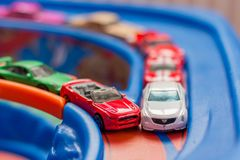 Scale model toy cars accident on the road. Traffic. Stupidity. Stock Photo