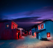 Scale model of a typical mexican village at night Stock Images
