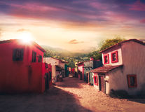 Scale model of a typical mexican village at sunset Stock Photography