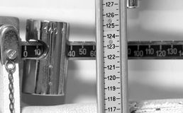 Scale of the office of doctor to weigh and measure children Stock Image