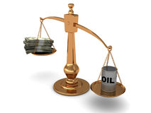 Scale with oil and money Royalty Free Stock Photos