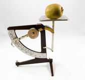 Scale. Old letter scale with a kiwi fruit on Stock Photography