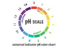 Scale of ph value for acid and alkaline solutions,. Infographic acid-base balance. scale for chemical analysis acid base.  illustration isolated  or white Stock Photos