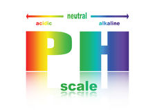 Scale of ph value for acid and alkaline solutions. PH scale value , ph paper test ,  illustration Royalty Free Stock Image