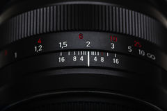 The scale on the photo lens Stock Photos