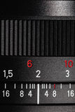 The scale on the photo lens Stock Photo