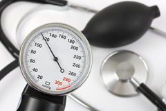 Scale of pressure and stethoscope Stock Photos