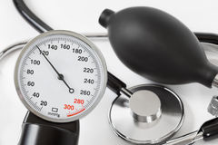 Scale of pressure and stethoscope Stock Images