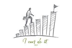 Scale rampicanti dell'uomo d'affari disegnato a mano alla cima Fotografia Stock Libera da Diritti