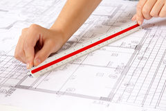 Scale Ruler on Blueprints Stock Image