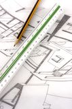 A scale ruler on a technical drawing Stock Image