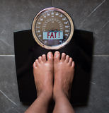 Scale that speaks and tells the truth, fat. The bathroom scales that speaks to you and tells you the truth by writing it on the screen: you're fat Royalty Free Stock Image