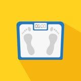 Scale su fondo bianco con ombra L'essere umano personale riporta in scala il sovrappeso, stante a dieta l'oggetto dell'equilibrio royalty illustrazione gratis
