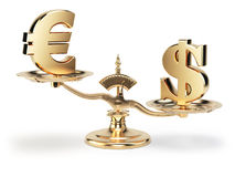 Scale with symbols of currencies euro and US dollar isolated on white background. 3d illustration Royalty Free Stock Images