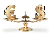 Scale with symbols of currencies euro and US dollar isolated on. White background. 3d illustration Stock Photos
