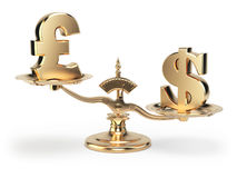 Scale with symbols of currencies UK pound and US dollar. On white background. 3d illustration Stock Photo