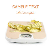 Scale and tape on white Royalty Free Stock Images