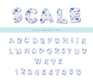 Scale trendy font. Cute alphabet for mermaid birthday cards, posters. Vector. Illustration stock illustration