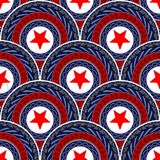 Scale wave tribal mandala seamless pattern design with chain and rope with blue red white color tone royalty free illustration