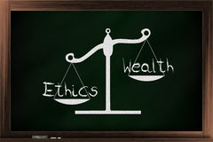 Scale of wealth and ethics Royalty Free Stock Photo