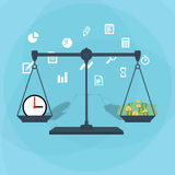 Scale weighing money and time Royalty Free Stock Photos