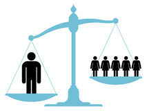 Scale weighing single man versus a group of women. Scale or balance weighing a single man versus a group of women or business team to establish which carries Royalty Free Stock Photo