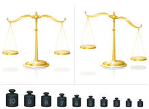 Scale Weights Balanced Unbalanced. Scale for maths and physics - calculate with ten different weights and learn counting and addition - place them on the Stock Photography