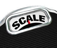 Scale Word on Measurement Tool Device Measuring Weight. The word Scale on a measurement device or tool used for measuring weight to determine mass and if you Stock Image