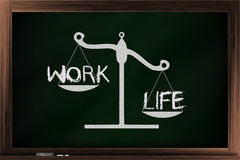 Scale of work and life. Scale of choices between work and life on a blackboard Stock Images