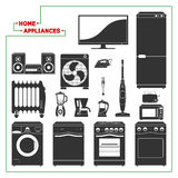 Scaled monochromatic home appliances vector. Modern style. Royalty Free Stock Photography