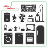 Scaled monochromatic home appliances vector. Retro style. Stock Image