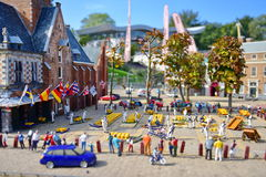Scaled replica of Alkmaar Cheese Market at Madurodam minature park Stock Photo