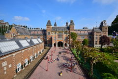 Scaled replica of Amsterdam Rijksmuseum at the Madurodam minature park Royalty Free Stock Image